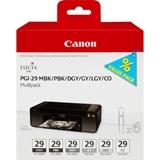 Canon PGI 29 MBK/PBK/DGY/GY/LGY/CO Originale Nero, Grigio scuro, Grigio, Grigio chiaro, Nero opaco, Nero