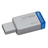 Kingston Technology DataTraveler 50 64GB unità flash USB USB tipo A 3.0 (3.1 Gen 1) Blu, Argento