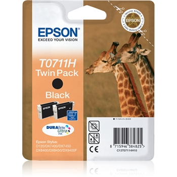 EPSON T0711 ink cartridge black high capacity 2 x 11.1ml 2-pack blister without alarm