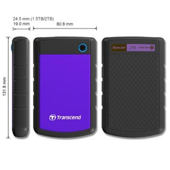 External HDD Transcend 25H3P 2.5'' 2TB USB3.0, Triple shock protection system