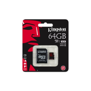 Flash card Micro-SD 64GB Kingston SDCA3 UHS-1,class3 90R/80W, adapter