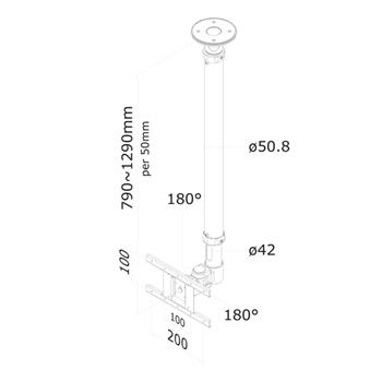 Newstar Supporto da soffitto per schermi LCD/LED/TFT