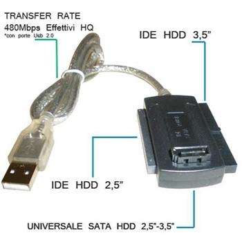 """ADATTATORE CONVERTITORE VULTECH IS-01 USB 2.0 Sata / Ide PATA 2.5"""" / 3.5"""""""