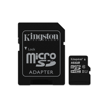 KINGSTON 16GB MICROSDHC CLASS 10 UHS-I ADAP