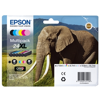 Epson Elephant Multipack 6-colours 24XL Claria Photo HD Ink