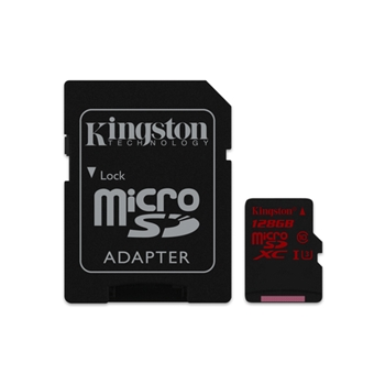 Flash card Micro-SD128GB Kingston SDCA3 UHS-1,class3 90R/80W, adapter