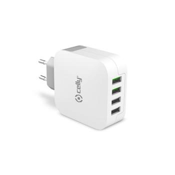 Celly TC4USBTURBO Caricabatterie per dispositivi mobili Interno Bianco