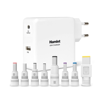 HAMLET NOTEBOOK POWER ADAPTER 65W 8 CONNECTORS + USB 5V 2.1A