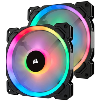 CORSAIR Fan LL140 RGB 140mm Dual Light Loop RGB LED PWM Fan 2 pack with Lighting Node Pro