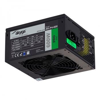AKY AK-P4-600 Akyga Pro Semi-Modular ATX Power Supply 600W AK-P4-600 Fan12cm P8 5xSATA 2xPCI-E