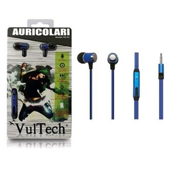Auricolari Earphones Vultech HD-02B Blu Super Bass in Metallo Con Microfono