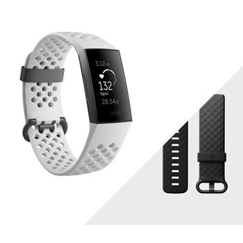 Fitbit Charge 3 Special Edition Braccialetto per rilevamento di attività Grafite, Bianco OLED
