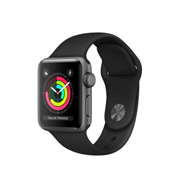 APPLEWATCH S3 GPS 38MM SPACE GREY ALUM CASE BLACK IN