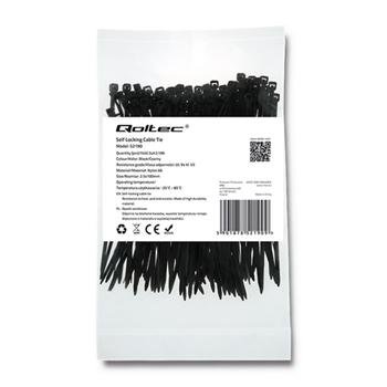 Zippers Qoltec | 2.5*100 | 100szt | nylon UV | Black