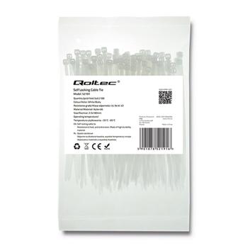 Zippers Qoltec | 2.5*100 | 100szt | nylon UV | White