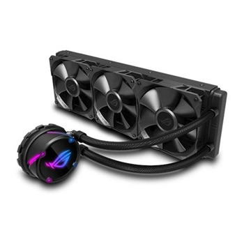 ASUS ROG STRIX LC 360 AIO cooler features ASUS ROG iconic design with addressable RGB lighting Aura sync NCVM coated pump
