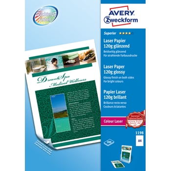 Avery Zweckform Premium Colour Laser Photo Paper 120 g/m² carta inkjet A4 (210x297 mm) Lucida Bianco
