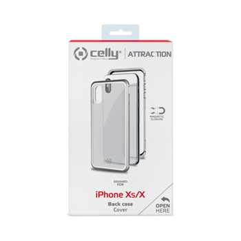 "Celly Attraction - iPhone Xs/X custodia per cellulare 14,7 cm (5.8"") Cover Argento, Trasparente"
