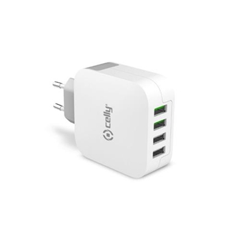 CELLY TRAVEL CHARGER TURBO 4 USB 4.8A
