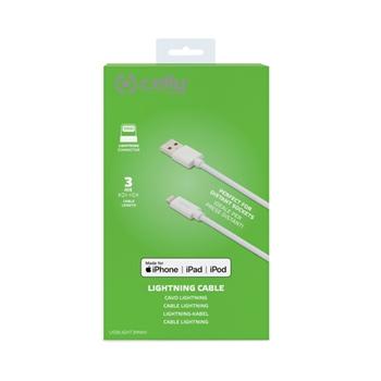 Celly USBLIGHT3MWH cavo Lightning 3 m Bianco