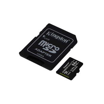 KINGSTON MICRO SD 64GB CON ADATT. CANVAS PLUS SDCS2/64GB CL10