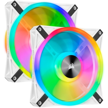 CORSAIR iCUE QL140 RGB 140mm White Dual Fan Kit with Lighting Node CORE