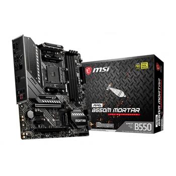 MSI MAG B550M MORTAR AMD Socket AM4 4xDDR4 up to 128GB 1xPCIe 3.0/ 4.0 x16 AMD CrossFire 6x SATA 6Gb/s 2xM.2 slots