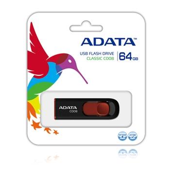 ADATA 64GB USB Stick C008 Slider USB 2.0 Black Red