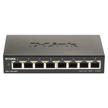 D-Link DGS-1100-08V2 switch di rete Gestito Gigabit Ethernet (10/100/1000) Nero
