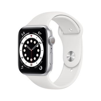 APPLE Watch Series 6 GPS 44mm Silver Aluminium Case with White Sport Band - Regular