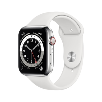 APPLE Watch Series 6 GPS + Cellular 44mm Silver Stainless Steel Case with White Sport Band - Regular