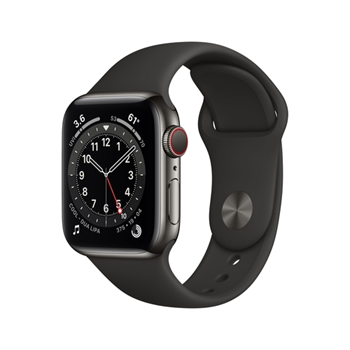 APPLE Watch Series 6 GPS + Cellular 40mm Graphite Stainless Steel Case with Black Sport Band - Regular