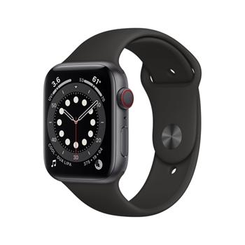 APPLE Watch Series 6 GPS + Cellular 44mm Space Grey Aluminium Case with Black Sport Band - Regular