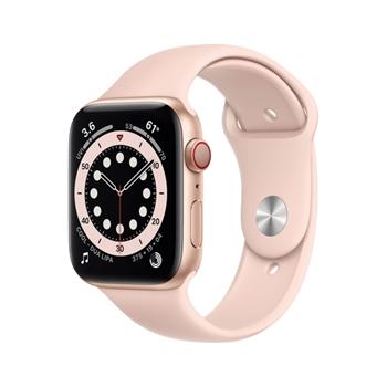 APPLE Watch Series 6 GPS + Cellular 44mm Gold Aluminium Case with Pink Sand Sport Band - Regular