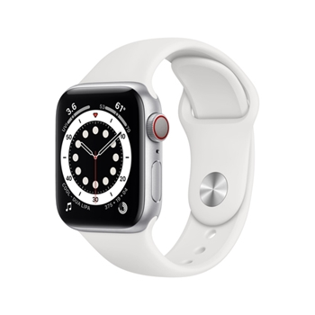 APPLE Watch Series 6 GPS + Cellular 40mm Silver Aluminium Case with White Sport Band - Regular