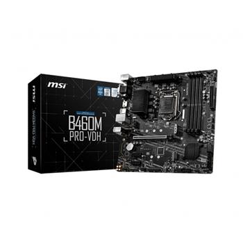 MSI B460M PRO-VDH mATX LGA 1200 Socket 10th gen Intel mATX MB 4xDDR4 up to 2933MHz 4xSATA 6Gb/s 2xM.2 6xUSB 3.2 VGA HDMI 3YW