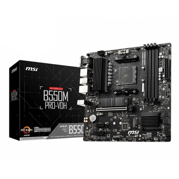 MSI B550M PRO-VDH Support for 3rd Gen AMD Ryzen Processors future AMD Ryzen with BIOS update 4xDIMM 4xSATAIII 2xM.2 AM4 mATX 105W
