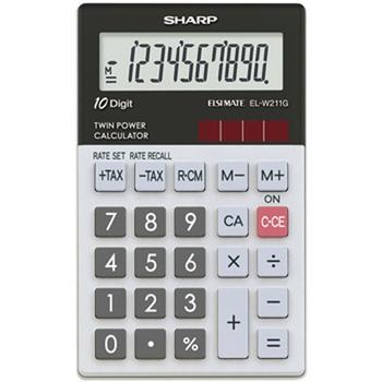 Sharp EL-W211G Tasca Calcolatrice di base Nero, Bianco