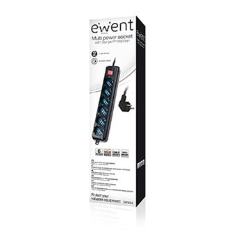 Ewent EW3924 prolunghe e multiple 1,5 m 6 presa(e) AC Nero