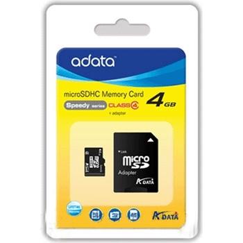 Memory card Adata microSDHC 4GB CL4 + Adapter